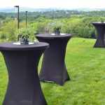 Outdoor dining tables on the lawn