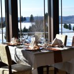 Lenape Heights Bar & Grill Dining Table with snow in the window
