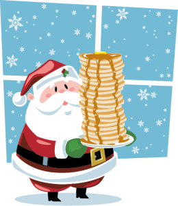 Image of Santa holding a stack of pancakes